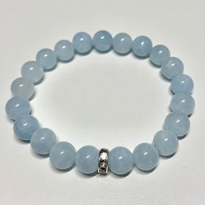 💕Blue Aquamarine Jade Stretch Bracelet 8mm Beads